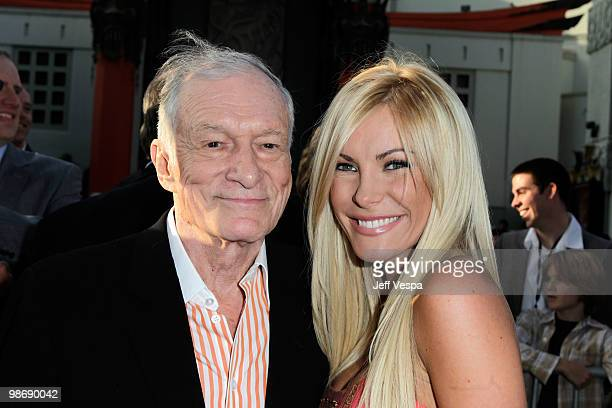 Hugh Hefner and Crystal Harris arrive at the 'Iron Man 2' World Premiere at El Capitan Theatre on April 26 2010 in Hollywood California