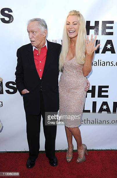 Hugh Hefner and Crystal Harris attend the 55th Anniversary Thalians Gala Honoring Hugh Hefner at The Playboy Mansion on April 30 2011 in Beverly...