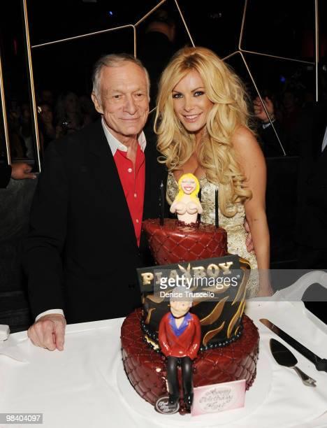 Hugh Hefner and Crystal Harris celebrate Hugh Hefner's 84th birthday at the Moon Nightclub at The Palms Casino Resort on April 10 2010 in Las Vegas...