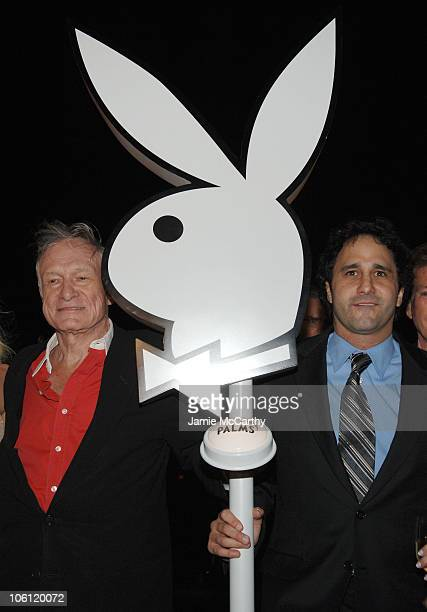 Hugh Hefner and George Maloof during The Playboy Club Grand Opening at The Palms Hotel and Casino Day One at The Playboy Club The Palms Hotel and...