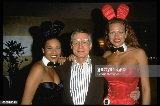 Hugh Hefner and his 'Bunnys' during the Playboy evening at the Friars Club