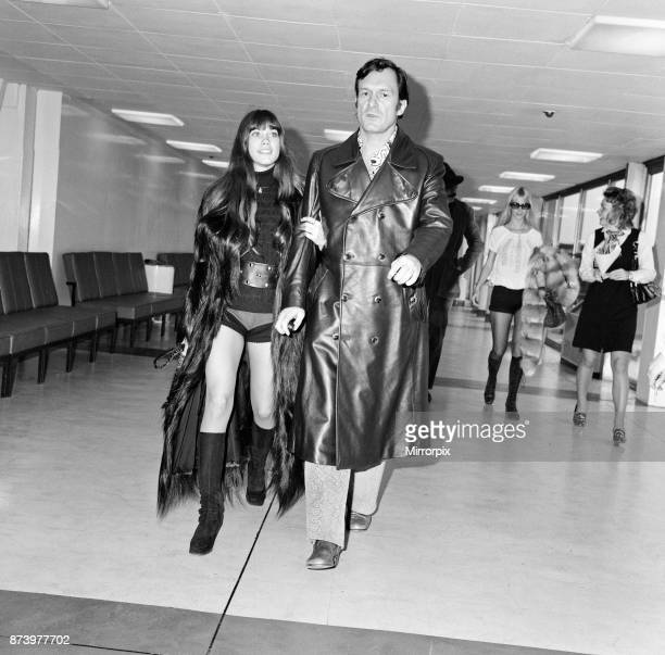 Hugh Hefner and his girlfriend Barbi Benton at London's Heathrow airport leaving for Chicago 20th February 1971