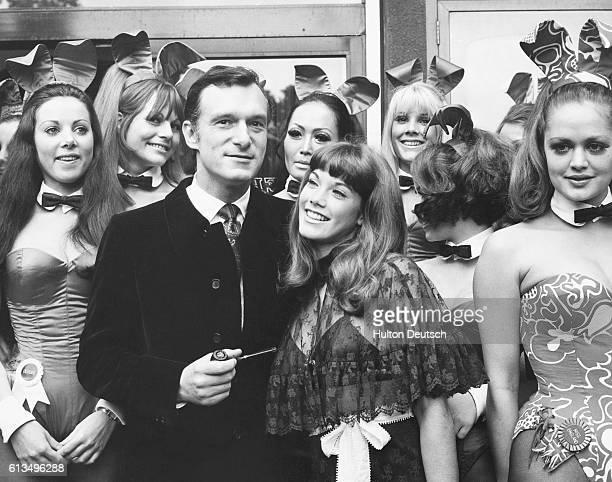Hugh Hefner and his girlfriend Barbi Benton visit his Playboy Club in London