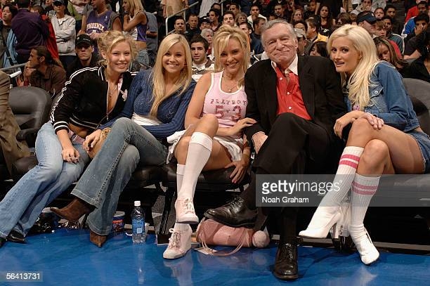 Hugh Hefner and his Playboy models sit courtside as the Los Angeles Clippers and Paramount Home Entertainment present the 2005 NBA Entertainment...