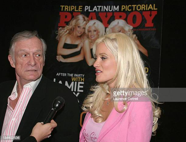 Hugh Hefner and Holly Madison during Celebration of Playboy's Girls Next Door November Issue October 18 2005 at Virgin Megastore in Hollywood...