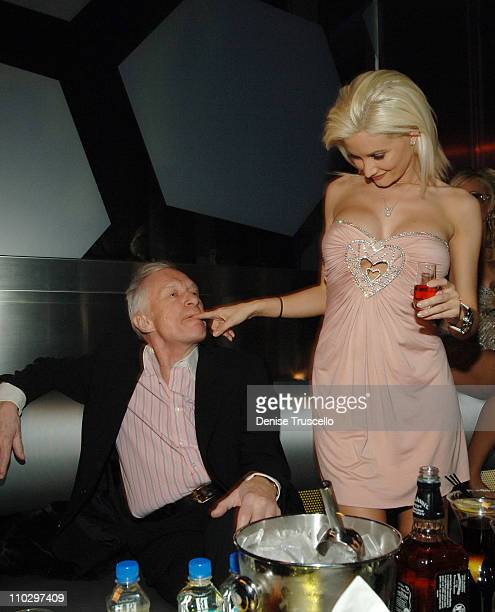 Hugh Hefner and Holly Madison during Hugh Hefner Kicks Off His 81st Birthday Celebration Weekend Hosted By The Girls Next Door at The Playboy Club...