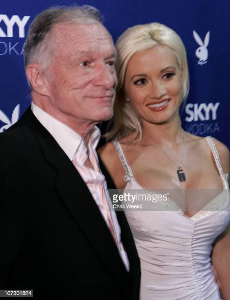 Hugh Hefner and Holly Madison during Skyy Vodka Celebrates Playboy's August Issue With Playmate of the Year Kara Monaco Red Carpet at Mood in...