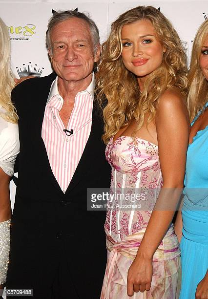 Hugh Hefner and Joanna Krupa during Playboy July 2005 Issue Release Party for Cover Model Joanna Krupa at Montmartre Lounge in Hollywood California...
