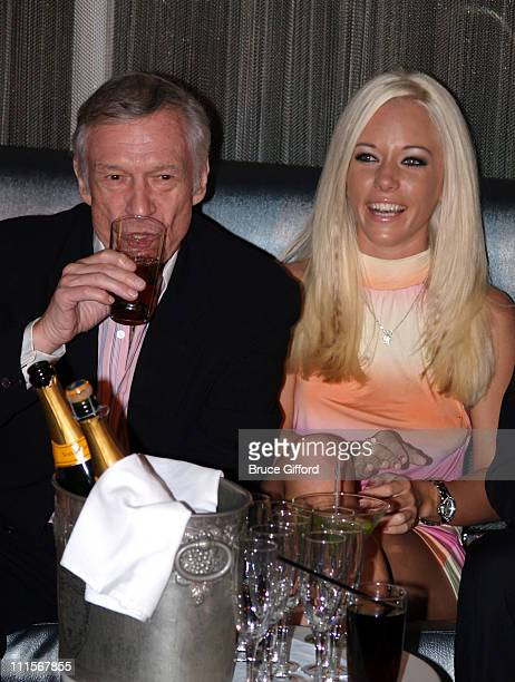 Hugh Hefner and Kendra Wilkinson during Playboy and Roberto Cavalli Unveil the New Interpretation of the Playboy Bunny Costume November 4 2005 at...