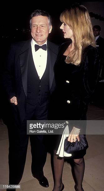 Hugh Hefner and Kimberley Conrad attend Society of Singers Gala on December 3 1990 at the Beverly Hilton Hotel in Beverly Hills California