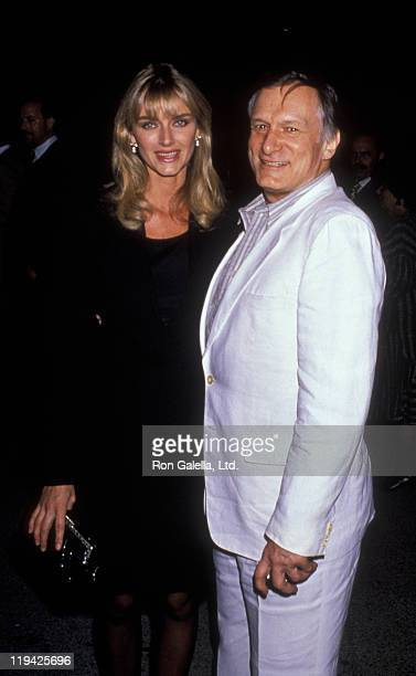 Hugh Hefner and Kimberley Conrad attend the perofmance of 'Phantom of the Opera' on May 23 1989 at the Ahmanson Theater in Los Angeles California
