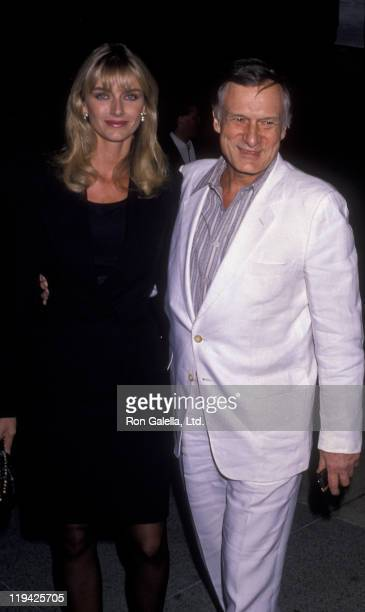 Hugh Hefner and Kimberley Conrad attend the perofmance of Phantom of the Opera on May 23 1989 at the Ahmanson Theater in Los Angeles California
