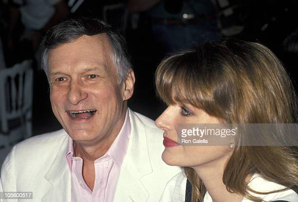 Hugh Hefner and Kimberly Conrad during Playboy Playmate Of The Year Celebration April 25 1991 at Playboy Mansion in Bel Air California United States