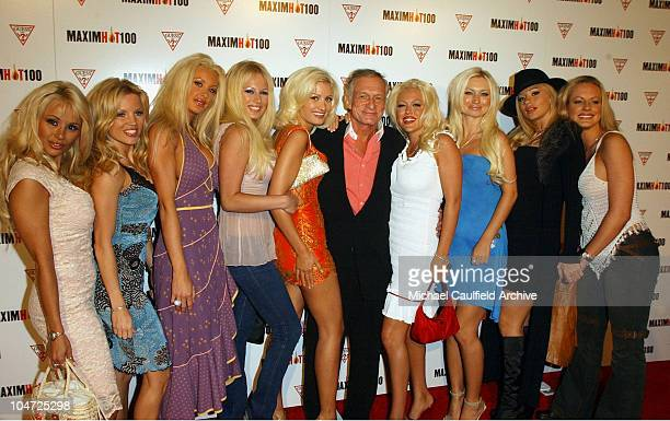 Hugh Hefner and Playmates during Maxim Hot 100 Party Arrivals at Yamashiro in Hollywood California United States