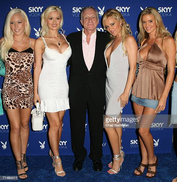 Hugh Hefner and the Playboy Playmates attend the Playboy and Skyy Vodka Party on July 18 2006 in Los Angeles California