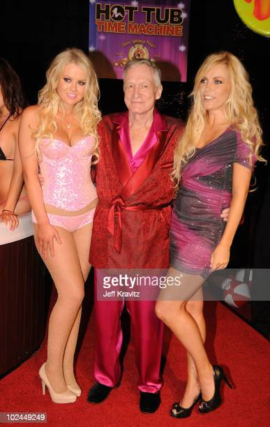 Hugh Hefner arrives at the 'Hot Tub Time Machine' Bluray and DVD launch party at the Kandyland V red carpet at the Playboy Mansion on June 26 2010 in...