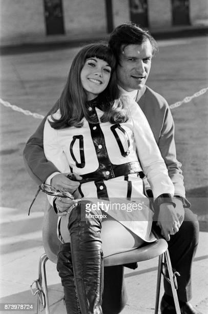 Hugh Hefner arriving at Gatwick Airport with his girlfriend Barbara Benton 3rd September 1969
