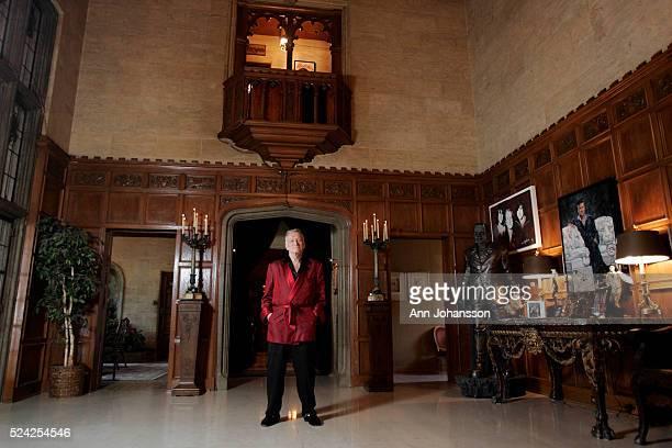 Hugh Hefner at the Playboy Mansion in Los Angeles, February 26, 2009.
