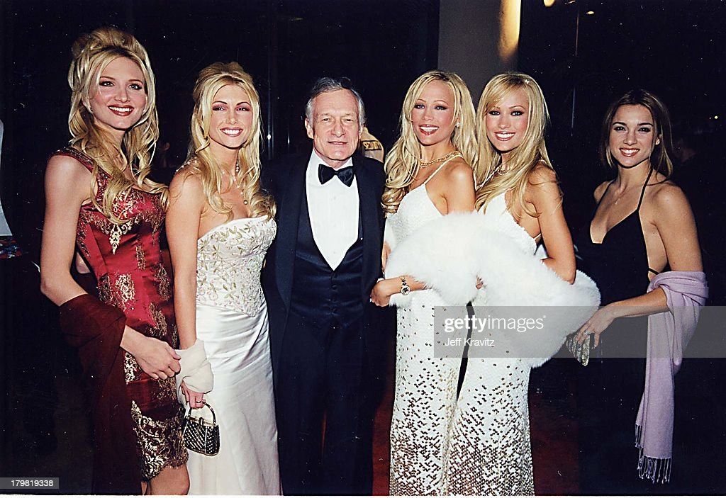Hugh Hefner & Bunnies during American Film Institute Honors Harrison Ford with 2000 Lifetime Achievement Award at Beverly Hilton Hotel in Beverly Hills, California, United States.