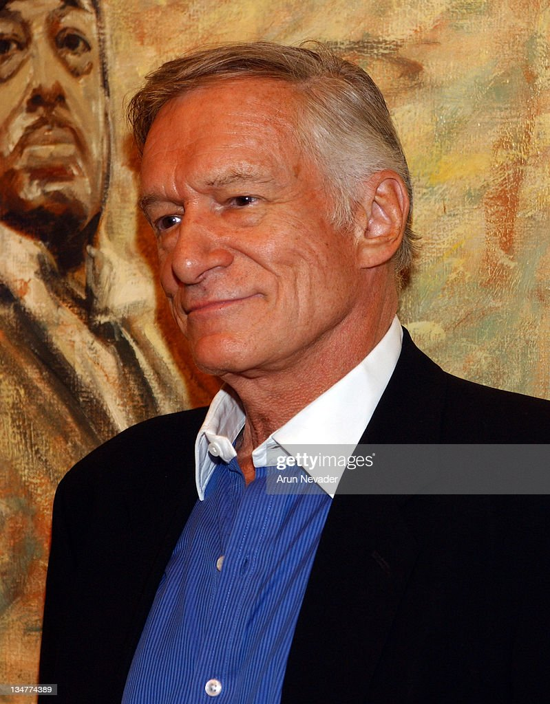 Hugh Hefner during Christie's Exhibits Playboy at 50: Selections from the Archives at Christie's in Beverly Hills, California, United States.