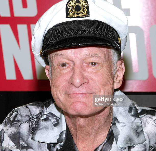 Hugh Hefner during The Girls Next Door InStore DVD and Magazine Autograph Signing at Tower Records on Sunset in West Hollywood California United...