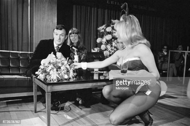 Hugh Hefner holds a press conference at the London Playboy Club to announce the formation of the Playboy film production company Pictured Hugh Hefner...