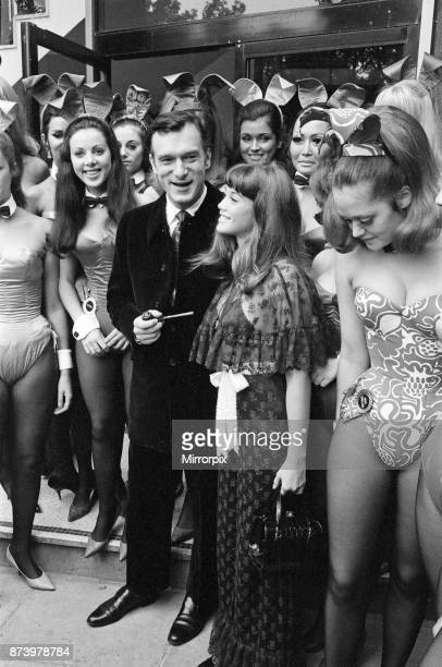 Hugh Hefner holds a press conference at the London Playboy Club to announce the formation of the Playboy film production company Pictured at the club...