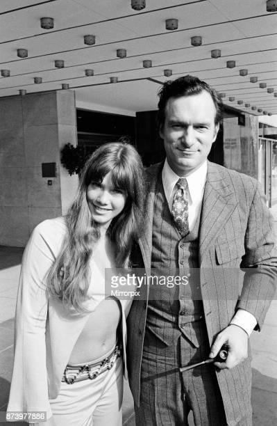 Hugh Hefner outside the Hilton Hotel with his girlfriend Barbara Benton Park Lane London 29th July 1970