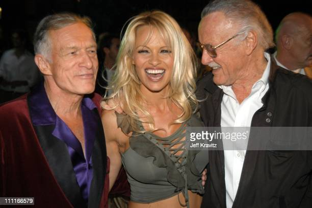 Hugh Hefner Pamela Anderson and Stan Lee during The Official Launch Party For Spike TV At The Playboy Mansion Inside at The Playboy Mansion in Bel...