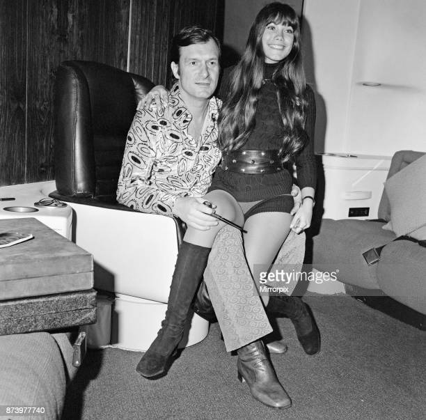Hugh Hefner pictured in the Playboy Jet with his girlfriend Barbi Benton The gleaming black Playboy jet leaves London's Heathrow airport for Chicago...