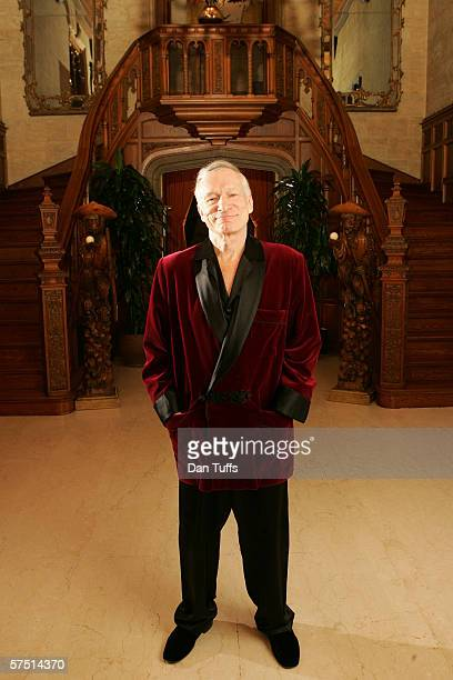 Hugh Hefner poses for a photo on Nov 17 2005 in Los Angeles California