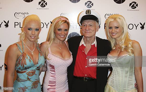Hugh Hefner poses for a picture with his playmate girlfriends Kendra Wilkinson Bridget Marquard and Holly Madison as they celebrate his 80th birthday...