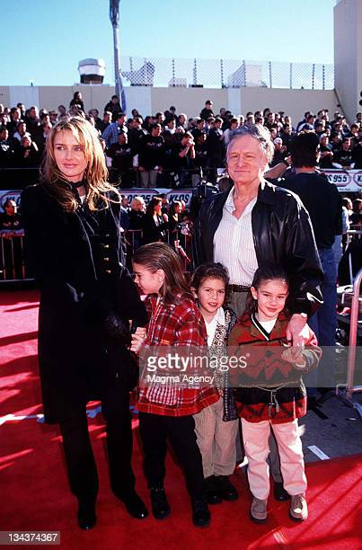 Hugh Hefner wife Kimberly and their children during Premiere of Star Wars Special Edition In 1997 at Westwood in Westwood CA United States