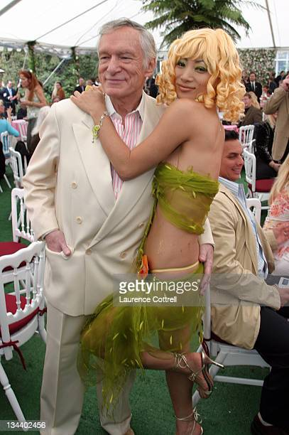 Hugh Hefner with Bai Ling during Playboy Magazine Introduces 2005 Playmate of the Year Tiffany Fallon at Playboy Mansion in Los Angeles, California,...