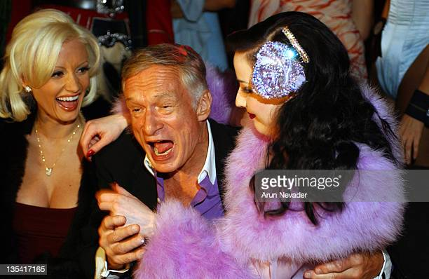 Hugh Hefner with Dita Von Teese during Playboy Mansion West Welcomes the 'Dewar's 12 Playboy Lounge' Tour at The Playboy Mansion in Los Angeles...