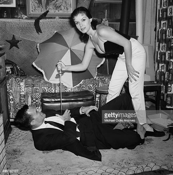 Hugh Hefner with Joan Bradshaw at a Play Boy Party in Los Angeles California