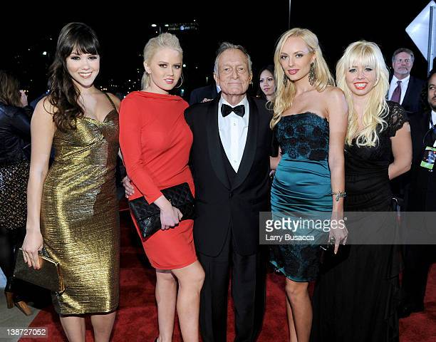 Hugh Hefner with Kristina Shannon Karissa Shannon and guests arrive at the 2012 MusiCares Person of the Year Tribute to Paul McCartney held at the...