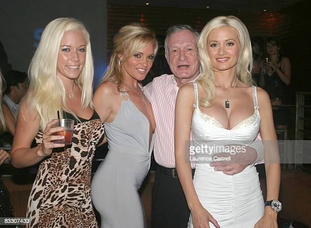 Hugh Hefner with Playmates Kendra Wilkinson Bridget Marquardt and Holly Madison