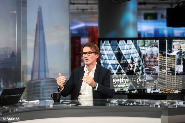 Hugh Hendry founder of Eclectica Asset Management LLP gestures while speaking during a Bloomberg Television interview in London UK on Friday Sept 15...