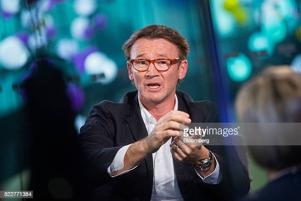 Hugh Hendry hedge fund manager at Eclectica Asset Management gestures while speaking during a Bloomberg Television interview in London UK on...