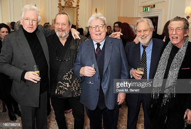 Hugh Hudson Terry Gilliam Sir Alan Parker Lord Puttnam and John Hurt attend a drinks reception awarding Sir Alan Parker the BAFTA Fellowship...