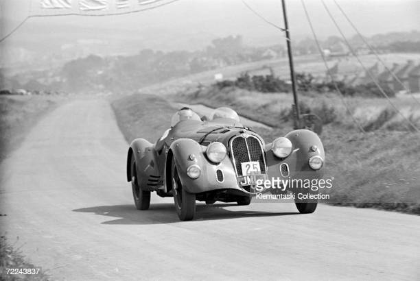 Hugh Hunter crossing the finish line in his Alfa Romeo 8c2900 spyder during the Lewes Speed Trials Lewes 19th August 1939