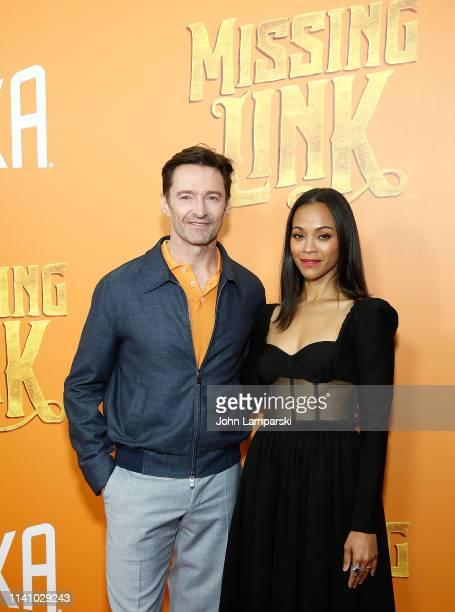 "Hugh Jackaman and Zoe Saldana attend ""Missing Link"" New York Premiere at Regal Cinema Battery Park on April 07, 2019 in New York City."