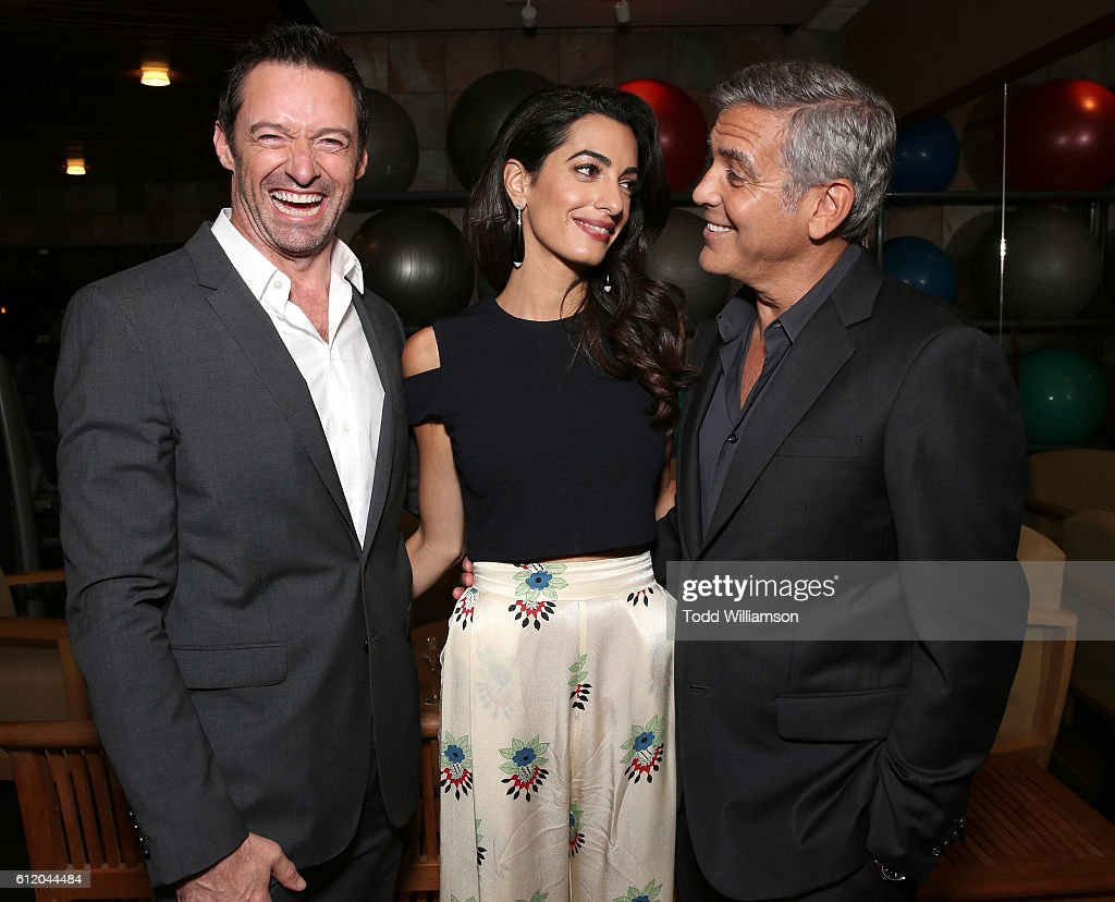Hugh Jackman, Amal Clooney and George Clooney attend the MPTF 95th anniversary celebration with 'Hollywood's Night Under The Stars' at MPTF Wasserman Campus on October 1, 2016 in Los Angeles, California.