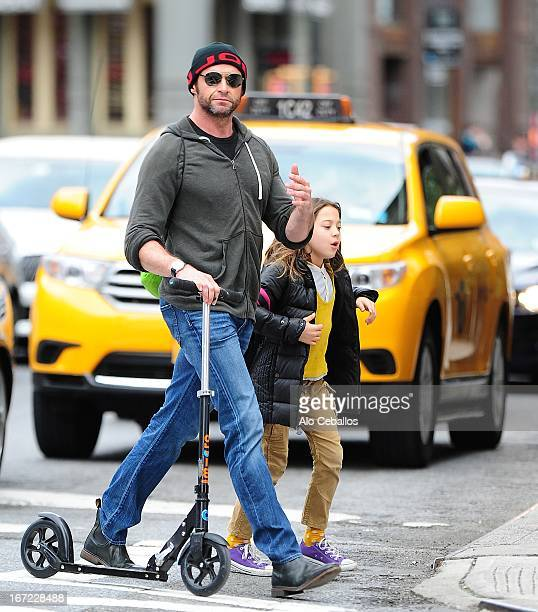 Hugh Jackman and Ava Eliot Jackman are seen in Soho on April 22 2013 in New York City