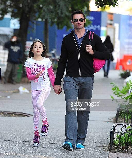 Hugh Jackman and Ava Eliot Jackman are seen in Soho on September 17 2013 in New York City