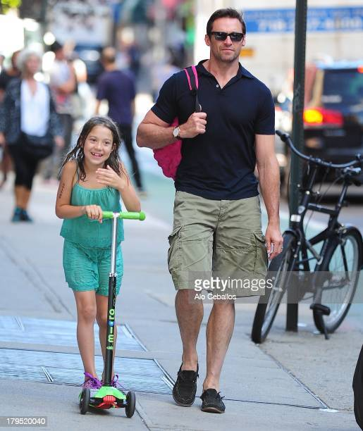 Hugh Jackman and Ava Eliot Jackman are seen in the West Village on September 4 2013 in New York City