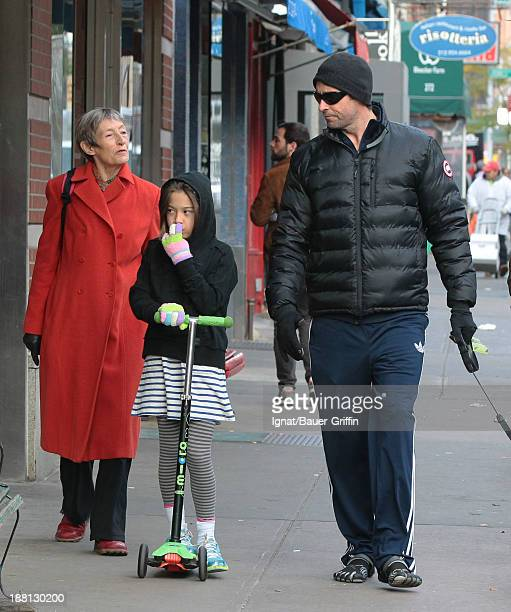Hugh Jackman and Ava Jackman with his mother Grace McNeil are seen on November 15 2013 in New York City