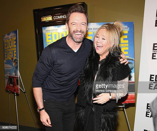 Hugh Jackman and Caroline Rhea attend the 'Eddie The Eagle' Screening at Landmark Sunshine Theater on February 2 2016 in New York City