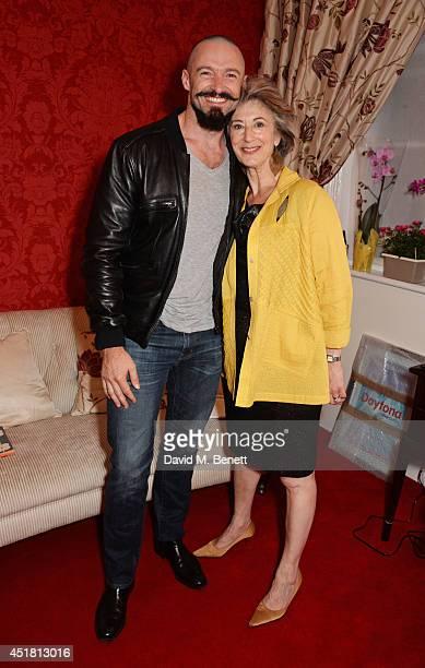 Hugh Jackman and cast member Maureen Lipman pose backstage at the press night performance of 'Daytona' at the Theatre Royal Haymarket on July 7 2014...